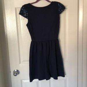 Navy blue mini dress.